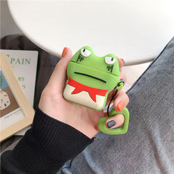 For Airpods Case Cute Cartoon Frog Earpods Earphone Cases For Apple Airpods 2 Silicone Protective Cover with Finger Ring Strap
