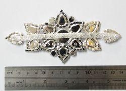 Free Shipping 12pcs 5.6'' Rhinestone Applique for Wedding Gown Rhinestone Trimming Bridal Sash Rhinestone Patch LSAP0915-2