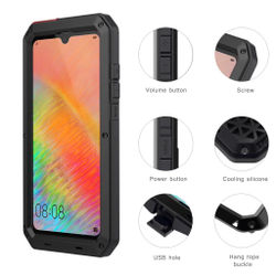 Luxury Dirt Shock Waterproof Metal Aluminum Case For Huawei Mate 20 Pro P30 Pro Heavy Duty Protection Doom Armor Phone Shell