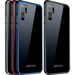 for Huawei P30 Case P30 Pro Metal frame + Tempered Glass Cases Case Colorful Smooth Back Cover P 30 Pro mate 20 pro metal Shell