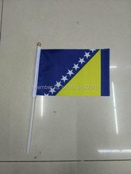100 PCS/ lot Promotion Wholesale Small Bosnia and Herzegovina Hand Waving National Flag 14*21cm 8 Polyester Flag
