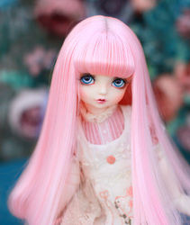 Doll wigs big pear curl hair with air bangs pink color High temperature wigs available for 1/6 1/4 1/3 BJD DD doll accessories