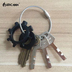 5pcs/lot Outdoor Camping Edc gear Multifunctional Wire Rope Key Ring & Stainless Steel Wire Chain Key Ring Edc Tool DS-2013