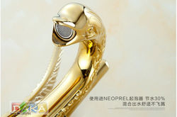 Luxury Gold plated Swan model wash basin faucet / Fashion Bathroom Hot and Cold Water Basin Tap /Mixer tap
