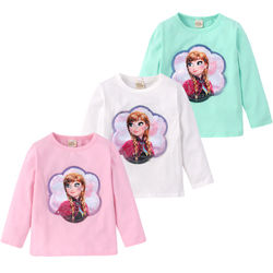 Girls Long sleeve T-shirt Cotton Clothing Magic Sequin T Shirt Change Graph Elsa And Anna Casual Fashion T Shirt Kids Tops Tee