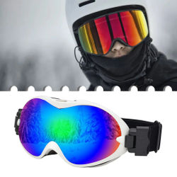 New Fashion Ski Goggles Spherical Double-layer Anti-fog Outdoor Sports Equipments Snow Goggles Mountaineering Windproof Glasses