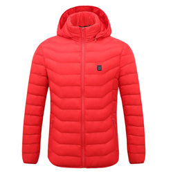 Big Sale Men Winter Warm USB Heating Jacket Coat Smart Thermostat Solid Hooded Heated Parka Waterproof Outdoor Thermal Clothing