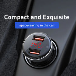 Baseus 45W Metal Dual USB Quick Charge 4.0 3.0 Car Charger SCP QC4.0 QC3.0 Fast Car USB Charger For iPhone Xiaomi Mobile Phone