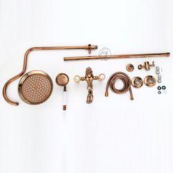 Rose Golden Shower Faucet Bathroom Shower Mixer Faucet Tap Wall Mounted Rainfall Rotatble Spout Faucet Brass Material