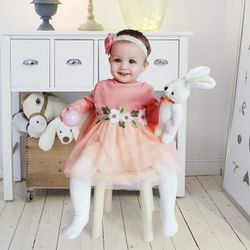 Babi Girl Dresses 1-4 Years Kids Pretty Long Sleeve Tulle Dress 0-24 Months Birthday Wedding Party Clothes Baby Girls