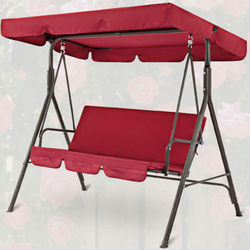 Terrace Swing Chair Cover 2 Pieces / Set Universal Garden Chair Dustproof 3-Seater Outdoor Cover (Red)