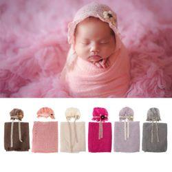 Newborn Photography Props Baby Crochet Costume Photo Hat Stretch Blanket Set R2JF