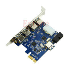 5 Ports PCI-E PCI Express Card to USB 3.0+19 Pin Connector 4 Pin Adapter For Win B95C