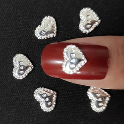 100Pcs Silver Nail Decoration 3D Heart Baby Letter Nailart Supplies Metal Nail Art Studs Alloy Manicure Design for gel polish