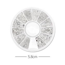Mixed Styles Silver 3D Star Moon Rivet Ongles Nail Art Decoration Accessories Manicure Charms Nails Alloy Jewelry Studs F614