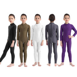 Long Sleeves Slim Fit Dancewear For Girls Dance Gymnastics Bodysuit Zippered Mock Neck Ballet Leotard Kids Jumpsuit Unitard