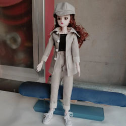 60cm bjd Doll Clothes Suit Winter Dress up Fashion Coat Casual Wear Dressing Accessories Outfits 1/3 Doll DIY Gift's Toy