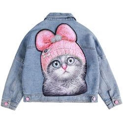 Girls Denim Coat 3-12 Years Old Turn-down Collar Solid Children's Clothing Cat Cartoon Spring and Autumn Kids Clothes Jackets