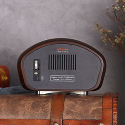 Vintage Retro Wood FM SD MP3 Bluetooth Transistor Rechargeable Radio with Speaker, Supports AUX Function