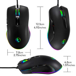 Type C Wired Mouse Optical Gaming USB C Mouse RGB LED Backlight for Laptop PC