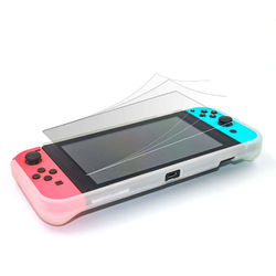1Set TPU Protective Case Cover Shell Hand Grip with 5 Game Card Holder 4 Thumb Sticks LCD Protective Film for Nintend Switch