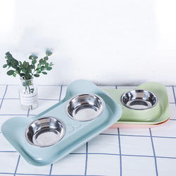 Stainless Steel Dog Cat Bowl Non-slip Feeder Bowl Double Pet Bowls Dog Supplies Solid Color Pet Drinking Dish Feeder