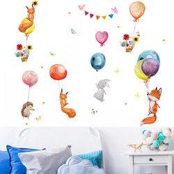 Hand painted Watercolour Wall Stickers Balloon Animals Wall Decals for Kids room Kindergarten Wall Decor Murals Home Decoration