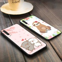 Cartoon Flower Cat Dog Anti-fall Phone Case for Samsung Galaxy A90 A80 A70S A60 A50S A40 A20E A20 A10S Soft Black Cover