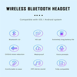 T8 TWS Wireless Bluetooth Earphone Stereo Bass Stereo Headset Gaming Sport Mic LED Display Handsfree Wireless Bluetooth Earbuds