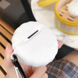 3D Chinese Cartoon Food Cute Steamed Buns Soft Silicone Wireless Earphone Charging Box Case For Apple AirPods 1 2 Cover Coque