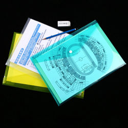 1pcs A4 Clear Document Bag Paper File Folder Stationery School Office Case PP 6 Colors with Snap Filing Products