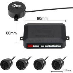 12V Reverse Backup Radar Sound Alert Indicator Universal 4 Sensors Buzzer Car Distance Detection System Car Parking Sensor Kit