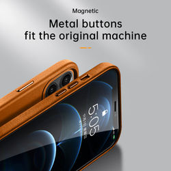 Original Magnetic Genuine Leather Case For iPhone 12 Pro Max 12Mini Shockproof Luxury Back Phone Cover For Apple Magsafe Charger