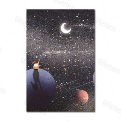 Cartoon Art Posters Universe Planet Space Moon Posters and Prints Wall Decoration Canvas Painting Children's Room Home Decoratio