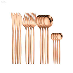 16Pcs Silver Cutlery Set Kitchen Tableware Stainless Steel Dinnerware Fork Spoon Knife Set Dinner Dishwasher Safe Dropshipping