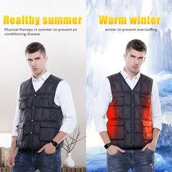 Intelligent Heating Solid Color Cotton Vest Korean Version Jacket USB Safe Winter Loaded Heating Fishing Clothes