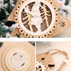 Christmas Decorations for Home Led Lights Christmas Ornaments Wooden Glowing Pendant Xmas Tree Decorations Christmas Gifts