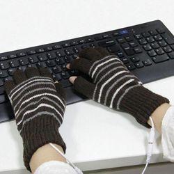 Heated Half Finger Gloves USB Washable Fingerless Winter Knitted Gloves