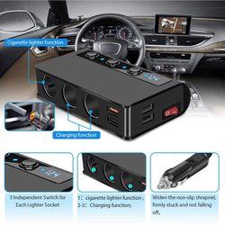 JaJaBor Car Cigarette Lighter Socket Car Charger with 4 USB Ports and 3 Sockets Cigarette Lighter Power Splitter Phone Charger