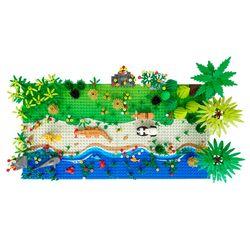 Classic Base Plates Tropical Rainy Climate Green Jungle Building Blocks Rainforest Animal Grass Tree Moc Kids Toy Gift