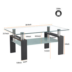 Rectangle Glass Coffee Table for Living Room Clear Home Furniture Double Layer Side Table Coffee Desk