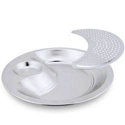 2PCS Dumpling Plate with Steamed Slices and Vinegar Plate Thickened Drained Dumpling Plate Fruit Snack Plate
