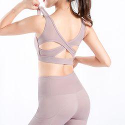 Yoga Bra Sports Women Fitness Crop Top Running Fitness Push Up Beauty Cross Back Underwear Vest Yoga Gym Workout Wear Sportswear