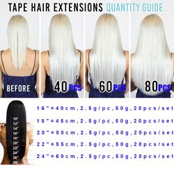 Rooted Tape in Human Hair Extension for Women Glue in Remy Piece Seamless Skin Weft Invisible Double 613 Bleach Blonde