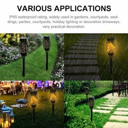 LED Solar Garden Decor Light Flame Torch Lamp Outdoor Lights Flickering Lamp Courtyard Balcony Lawn Path Landscape Spotlight