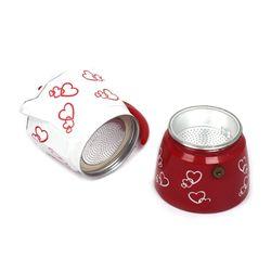 150ml/300ml Red Heart Print Coffee Maker Aluminum Alloy Moka Pot Espresso Mocha Percolator Cafetera Filter For All Cooktops