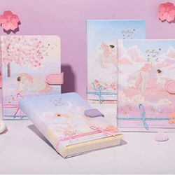 32K Color Page Magnetic Button Book Korean Version Pink Notebook Student Diary Book Bronzing Three-Dimensional Title Page