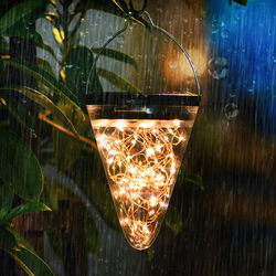 led solar outdoor waterproof copper wire villa courtyard outdoor garden decoration colorful landscape hanging tree night light