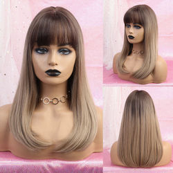Inhaircube Ombre Straight Long Dark Brown Root Lolita Hair Wigs with Bangs Womens Half Synthetic Wig Real Scalp Free Shipping