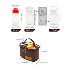 7pcs Outdoor Camping Tableware Storage Container Portable Seasoning Bottles Cans With A Bag BBQ Picnic Camping Equipment